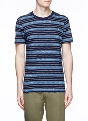 Denham Jeans 'Signature' Stripe Cotton T Shirt Blue