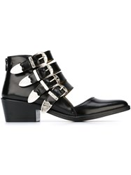 Toga Pulla Cut Out Buckle Boots Black