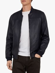 Ted Baker Cubz Leather Bomber Jacket Navy Blue