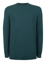 Topman Dark Green Brick Textured Viscose Sweater