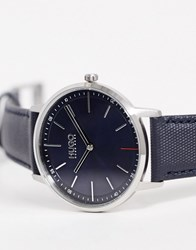Hugo 1520008 Exist Leather Watch In Navy