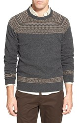 Men's Bonobos Fair Isle Raglan Sleeve Lambswool Sweater Grey