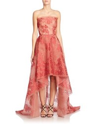 Monique Lhuillier Strapless Lace Hi Lo Gown Scarlet Red