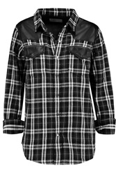 Current Elliott The Western Faux Leather Paneled Cotton Shirt