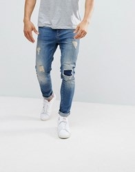 Pier One Slim Fit Jeans With Rips Dark Denim Blue