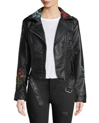 Candc California Floral Embroidered Moto Style Jacket Black