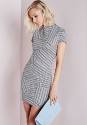 Missguided High Neck Short Sleeve Bodycon Dress Geometric Print