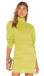Kendall Kylie Puff Sleeve Top In Green. Stripe