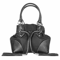 Buti Black Nylon And Leather Mini Bucket Bag