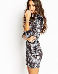 Jaded London Velvet Mini Dress With High Neck And Long Sleeves In Moon And Stars Print Black