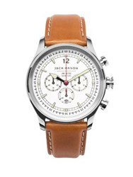Jack Mason Nautical Stainless Steel And Italian Leather White Dial Chronograph Strap Watch Silver
