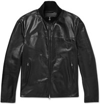 Dunhill Leather Track Jacket Black
