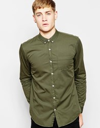 Pull And Bear Pullandbear Twill Shirt With Button Down Collar In Khaki