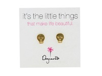 Dogeared It's The Little Things Earrings Skull Gold Earring