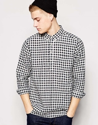 Asos Shirt In Long Sleeve With 3 4 Placket And Lightweight Mini Buffalo Blue