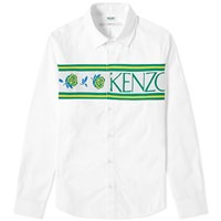 Kenzo Logo Knit Band Oxford Shirt White