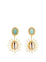 Sylvia Toledano Grigri Amazonite And Shell Drop Earrings Blue Multi