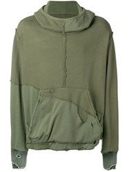 Greg Lauren Slouchy High Tech Hoodie Green