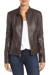 Cole Haan Women's Leather Moto Jacket Espresso