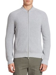 Brunello Cucinelli Ribbed Cotton Cardigan Light Grey