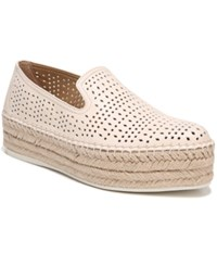 Franco Sarto Elliot Perforated Flatform Espadrilles Milk