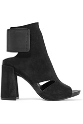 Pedro Garcia Yeca Cutout Leather Trimmed Suede Ankle Boots Black