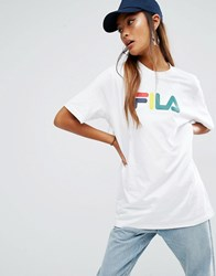 Fila Oversized Boyfriend T Shirt With Basic Logo White