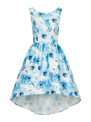 Chi Chi London Digital Floral Print Dip Hem Dress Blue