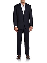 Saks Fifth Avenue Red Trim Fit Two Button Suit Navy