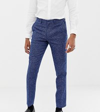 Heart And Dagger Skinny Fit Suit Trouser In Blue Dogstooth