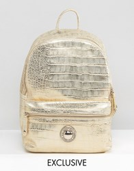 Versace Jeans Gold Metallic Backpack Gold