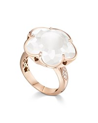 Pasquale Bruni 18K Rose Gold Floral Milky Quartz Ring With Diamonds Rose White