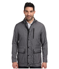 Kenneth Cole Sportswear Leather Trim Anorak Heather Grey Combo Men's Coat Black