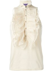 Ralph Lauren Sleeveless Ruffle Blouse Nude And Neutrals