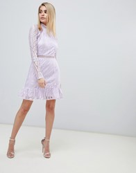 Love Triangle Contrast Lace Skater Dress With Cut Out Back In Lilac Lilac Grey