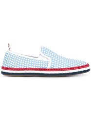 Thom Browne Basket Weave Espadrilles Women Calf Leather Leather Rubber 38 Blue