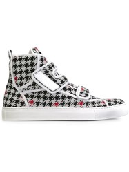 Raf Simons Houndstooth Hi Top Sneakers White