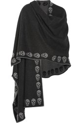 Alexander Mcqueen Reversible Intarsia Cashmere Wrap Charcoal