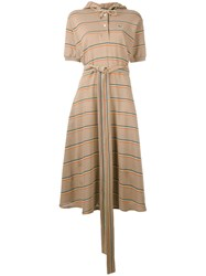 Lacoste Hooded Polo Dress Women Cotton 36 Brown