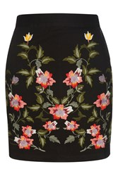 Topshop Ivy Flower Embroidered Skirt Multi