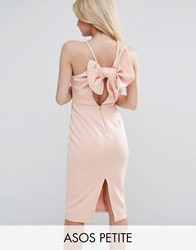 Asos Petite Bow Back Scuba Midi Pencil Dress Peach Pink