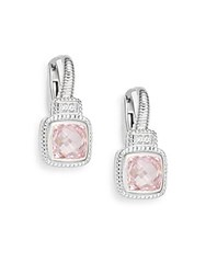 Judith Ripka Natalie Pink Crystal White Sapphire And Sterling Silver Cushion Drop Earrings Silver Pink