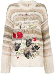 Antonio Marras Floral Embroidery Sweater Nude Neutrals