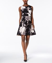 Nine West Floral Print Fit And Flare Dress Cameo Multi