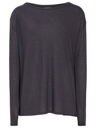 Reiss Fernandez Jersey Long Sleeve Top Night Navy