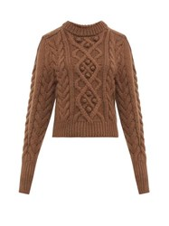 Isabel Marant Milford Cable Knit Wool Sweater Brown