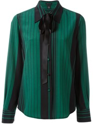 Marc Jacobs Striped Pussy Bow Shirt Green