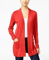 Jm Collection Petite Open Front Cardigan Only At Macy's Rusty Red