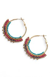 Panacea Women's Beaded Hoop Earrings