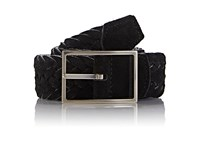 Simonnot Godard Men's Reversible Suede And Felt Belt Black